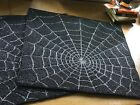Halloween Spider Web Fully Glass Beaded Place Mat Placemat Set of 2 NWT 15 sq