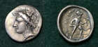 ANCIENT GREEK SILVER TRIOBOL OPUS MINT 369 338 BC HEAD OF PERSEPHONE AJAX RARE