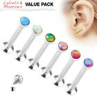 6pc Value Pack Opal Internally Threaded Steel Cartilage Studs Labrets Monroes