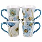 Certified International The Greenhouse Poppies Mugs Set of 4, 14 oz, Multicolor