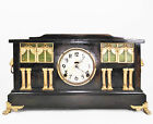 Early Antique Ingraham Mantle Clock Black Green Windows Columns Chime Key Works