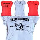 TRUE RELIGION T Shirt Womens Red White V Neck Flock Soft Tee Top XS S M L XL NWD