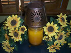 SUNFLOWER CANDLE JAR HOLDER W PUNCHED TIN COPPER SHADE NEW
