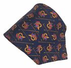 Brooks Brothers Silk Necktie Jockey Hat Horse Shoe On Blue 5875 by 375 Inches