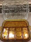 2 Indiana Glass Fruits 5 Part Divided Relish Fruit Tray Platters Amber