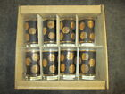 VINTAGE  MCM MID CENTURY LIBBEY HIGHBALL GOLD COIN GLASS BARWARE SET MINT IN BOX