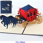 3D Pop Up Greeting Card Anniversary Valentines Day Wedding carriage Blue