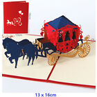 3D Pop Up Greeting Card Anniversary Valentines Day Wedding carriage Red