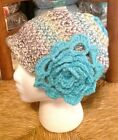 1920s Cloche Hat Brilliant Shades Blues and Greens w Turquoise Accent Flower