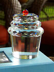 STUNNING LARGE Simon Designs Crystal Cupcake Cherry Paperweight WITH ORIG BOX