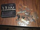 Antique New Home Sewing Machine Attachments / accessories in Lined Metal Box