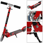 Red Folding Aluminum 2 Wheel Kids Kick Scooter Adjustable Height LED Light Up