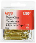 ACCO Gold Tone Jumbo Paper Clips Smooth Steel Wire 20 Sheet Capacity 50 ClipsBox