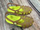 Crocs Girls Pink Yellow Mary Janes Flower Cutout Sandals Shoes Youth Size 12