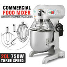 Commercial 1.0 HP 20 Quart Food Mixer Gear Driven Dough Flour Paste Three Speed
