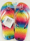 Rainbow Glitter Stripe Flip Flops Womens XS 4 5 Plastic Rubber Imagine8 F05