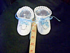 BABY BOOTIES Heirloom Style Crochet White  Light Blue Girl or Boy Size 3M to 6M