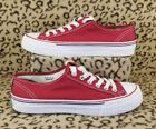 PF FLYERS LOW TOP CANVAS ADULT SHOES MENS SIZE 7 WOMENS 85 RED WHITE