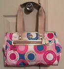 Coach Authentic Daisy Multicolor Pink Blue Tan Tote Handbag Purse NEW