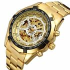 NEW Stylish Skeleton Automatic Mechanical Stainless Mens Wrist watch Hollow Gold