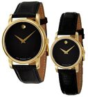 Movado Museum Black Dial Gold Black Leather Mens  Womens Watch 2100005 2100006
