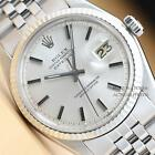 ROLEX MENS SILVER DIAL DATEJUST OYSTER PERPETUAL 18K WHITE GOLD/
