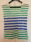 OLD NAVY blue and green sequin stripe top size M
