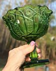 Vintage Smith Glass Green Compote Candy Dish Bowl Heritage Hobstar Cane