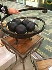 NEW LARGE 19 CLEAR GLASS DECORATIVE BOWL HAND FORGED TEXTURED METAL STAND