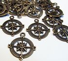 COPPER METAL COMPASS CHARMS DIRECTION PENDANTS FINDINGS JEWELRY LOT OF 50pcs