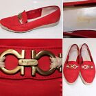 Salvatore Ferragamo Boutique Womens Red Suede Leather Horsebit Loafer 65 B