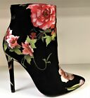 Tacia Ankle High Stiletto Heel Pointy Pointed Toe Bootie Boots Floral Black
