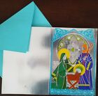 LOT 18 VTG NOS RUST CRAFT CHRISTMAS CARDS + ENV SILVER EMBOSSED NATIVITY 75x5