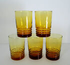 5 Libbey Amber Swirl 12 oz Tumblers Ribbed Honey Gold Yellow Vintage Retro