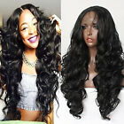 Long Black Color Body Wave Wigs Japan Fiber Synthetic Lace Front Wig Black Women