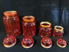 Vintage L.E. Smith Moon and Stars Amberina Orange Glass Canister Set of 4