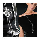 Nataliya Silver Four Leaf Clover Long Sweater Chain Crystal Pendant Necklace