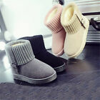 Womens Winter Snow Boots Flats Warm Ankle Fur Lined Belt buckle Casual Shoes