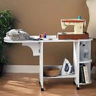 Sewing Mobile Table w/ Wheels White Wood Foldable Side Shelf Shelves Tailor Desk