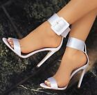 WHITE size 42 Satin Ankle Buckle Strap Open Toe High Heel