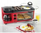 Retro Toaster Oven Coffee Maker Breakfast Center Griddle Removable Drip Pan Red
