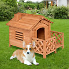 Wooden Pet Dog House Kennel Shelter Crates with Porch Window In Outdoor