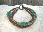 Boho Turquoise Brown Czech Glass Seed Bead Multi Strand Beaded Fashion Bracelet