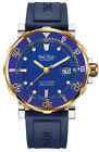 Paul Picot Yachtman III Stainless Steel & Gold Blue Rubber Automatic Watch