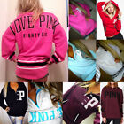 Fashion Womens Hoodies Pink Printed Hoodie Frenchterry Sweatshirts Pullover Tops