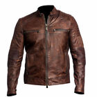 Mens Vintage Biker Motorcycle Distressed Brown Cafe Racer Genuine Leather Jacket