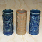Set of 3 Vintage Libbey Stoneware Tiki Drink Tumblers in Blue and Tan
