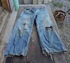 Rare Used Mens Boys Blue Denim Jean Pants Buckle Back Old Clothes 26x24