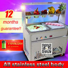 fried ice cream roll machine,two square pans ice cream maker with 5 common boxes