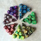 Marbled Swirl Set of 7 Polyhedral Dice 7 Colors to Choose RPG DND Pathfinder